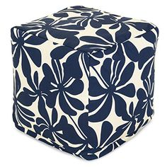 Majestic Home Goods Plantation Indoor / Outdoor Bean Bag Ottoman Pouf Cube, 17