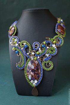 Купить Колье Линии Жизни - комбинированный, wire wrap, авторское украшение, эксклюзивное украшение