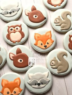 Baby Reveal Cookies Products Ideas For 2019 Owl Sugar Cookies, Baby Cookies, Fox Cookies, Baby Shower Cookies, Royal Icing Cookies, Iced Cookies, Easter Cookies, Lovin Oven, Woodland Animals