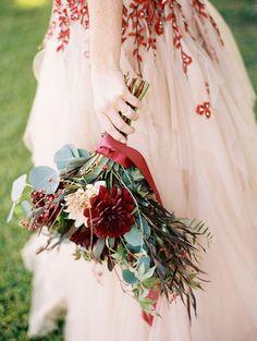 Burgundy and Ivory Dahlia Bouquet | Jeff Brummett Visuals | http://heyweddinglady.com/bold-colors-floral-wedding-dress-fall/