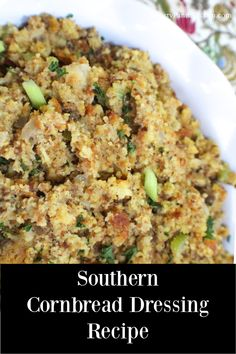 Traditional Southern Cornbread Dressing is easy to make and can be made in advance! Delicious, flavorful savory Southern Cornbread Dressing with a hint of sage! Perfect for Thanksgiving or Christmas! Homemade Cornbread Dressing, Cornbread Dressing With Chicken, Southern Cornbread Dressing, Southern Dressing Recipe, Chicken Dressing, Easy Stuffing Recipe, Stuffing Recipes, Stuffing Muffins, Cornbread Stuffing
