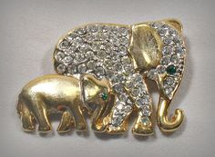 Vintage Elephant Mother & Baby Pin Pave Set by RoseCottageVintage