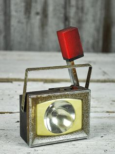 Metal Ash Flash Light with Red Flasher 1950s 1960s by RusticRealm, $15.00