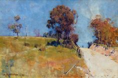 Sunlight (Cutting on a hot road) Canvas Art - Arthur Streeton x Australian Painting, Australian Artists, Landscape Art, Landscape Paintings, Landscapes, Watercolor Landscape, Social Art, Impressionist Paintings, Oil Paintings