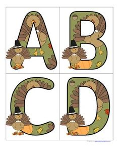 FREE This is a set of large alphabet letters with a Thanksgiving theme. Includes both upper and lower case. 4 letters to a page. Use to make matching and recognition games. Large enough for bulletin board and room décor.