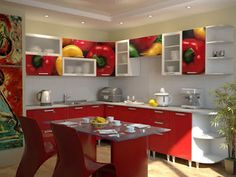 Latest modern red kitchen cabinets and interior design catalogue Red And White Kitchen Cabinets, Wooden Kitchen Cabinets, Kitchen Cabinet Design, Kitchen Designs, Kitchen Paint, Kitchen Furniture, Kitchen Storage, Furniture Design, American Kitchen Design