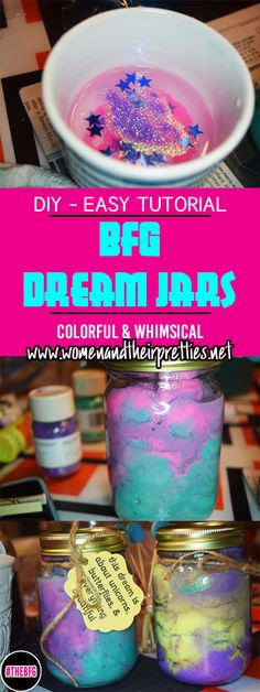Create your own colorful DIY The BFG Dream Jars with a few simple steps! #DreamJars #TheBFG #DIY