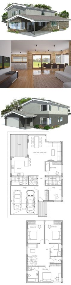 Large Modern House Plan with double garage. Floor Plan from ConceptHome.com