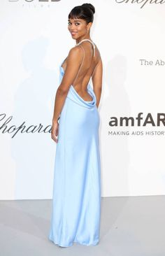 Laura Harrier arrives at the amfAR Gala Cannes 2018 at Hotel du CapEdenRoc on May 17 2018 in Cap d'Antibes France