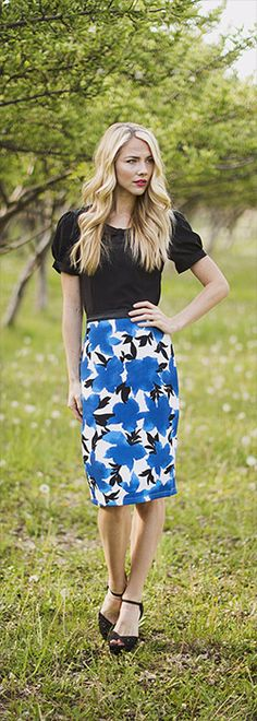 Blue Floral Skirt with black Trim [MSS1382] - $44.99 : Mikarose Boutique, Reinventing Modesty
