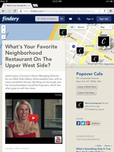 What's Your Favorite Neighborhood Restaurant On The Upper West Side? Janet Lowry, Corcoran's Senior Managing Director for our West Side Gallery office explains how, with so many wonderful choices, deciding can be tough, but her recommendation would be Popovers, which she often goes to with her niece.