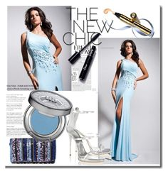 """Evening Dress With Beading"" by johnnymuller ❤ liked on Polyvore featuring Giuseppe Zanotti, Santi and Urban Decay"