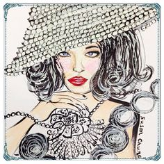 Kentucky Derby Fashion Illustration by Susan Chung, https://www.facebook.com/pages/Susan-Chung-Illustrations/331104350407447?ref=hl , Instagram @susanchungfashion