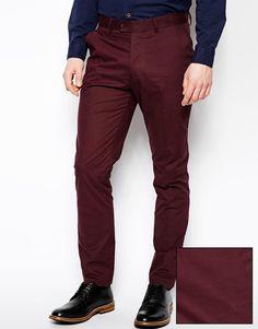 €54, Pantalón de Vestir Burdeos de Asos. De Asos. Detalles: https://lookastic.com/men/shop_items/62509/redirect