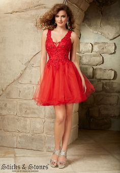Homecoming Dresses, Party Dresses, and Cocktail Dresses by Sticks & Stones Lace and Tulle with Beading Side Zipper. Available in Red, Navy, Blush
