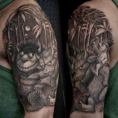 Where the Wild Things Are tattoo, black and grey realism tattoo