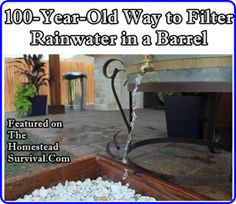 This homesteading 100 year old way to filter rainwater in a barrel is how people used natural materials to make safer drinking water.  This plan for a homemade carbon filter is an improvised filter of gravel sand and charcoal. Visit us on Facebook, Pinterest, Twitter, Google + or send an email to homesteadsurvival@hotmail.com to join …