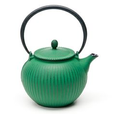 Enjoy an age-old tea ritual with your favorite loose tea served in a traditional tetsubin teapot from Joyce Chen. This quality hand-cast, cast iron teapot provides superior heat retention. Designed with a hand-applied green patina exterior and an enameled interior and stainless steel mesh infuser.