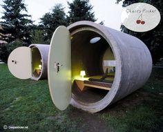 Slapen in een pijp en betalen voor je verblijf wat jij wilt? Welkom bij Das Park Hotel in Duitsland! #Trend #traveldreams #traveltrends  Sleeping in a pipe and paying as you wish? Welcome to Das Park Hotel in Germany!