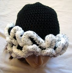 Ruffle hat beanie toque. Crocheted.  Ladies by HandyFamily on Etsy, €28.00