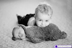 So cute - great idea for a birth announcement - baby with big brother