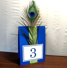 Table numbers - colorful enough for my mother, simple enough for me.