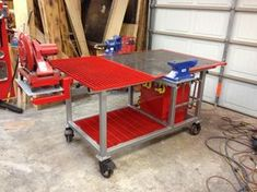 Welding Table Build with Tool Storage, Vise, Plasma Cutting Area, and Metal Chop Saw. (Quite possible an idea for when I build my own welding table R. Welding Bench, Welding Cart, Welding Jobs, Diy Welding, Welding Design, Woodworking Bench, Metal Projects, Welding Projects, Welding Ideas