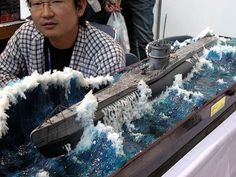 U-boat Submarine Typ VIIC 1/72 Scale Model Diorama, impressive water effects.