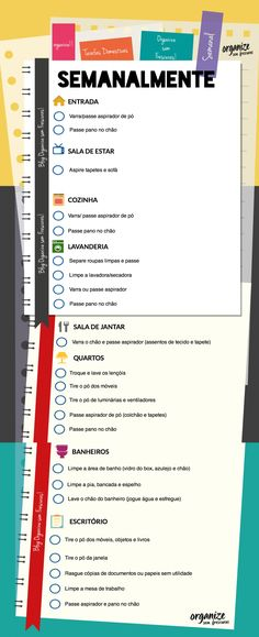 Organize sem Frescuras | Rafaela Oliveira » Arquivos » Infográfico das Tarefas Domésticas Semanais