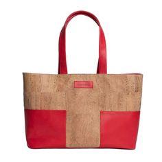 Cork Material, Red Tote Bag, Weekend Trips, Reusable Tote Bags, Pocket, Leather, Weekend Getaways, Bag