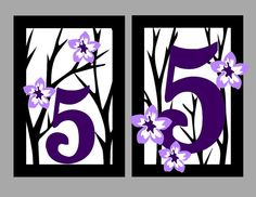 Table Number Luminaries  Purple Cherry Blossom  by MinksPaperie, $144.00