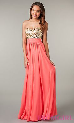 Long Strapless Prom Dress with Jeweled Bodice at PromGirl.com