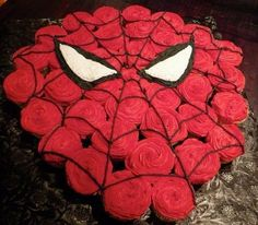 spiderman cupcake cake birthday-party-ideas