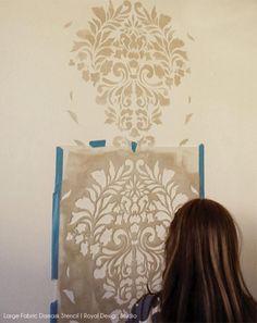 Stencil a Headboard Wall for an Elegant Guest Bedroom – Royal Design Studio Stencils Damask Wall Stencils, Stencil Fabric, Wallpaper Stencil, Custom Stencils, Stencil Patterns, Stencil Diy, Painting Patterns, Faux Walls, Wall Trim
