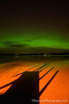 Aurora Borealis ... shadow selfie by Ken Scott, via Flickr. Taken at Cedar Lake, Leelanau County, Michigan