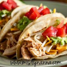 Fit for Life: OMG...Easy Crockpot Chicken Tacos  This taco recipe is SO EASY, it's embarrassing!! With literally THREE ingredients, you can make tacos in no time!! Oh and sooo delicious!!!  21 Day Fix Approved!! www.mistynanna.com #21DayFix #Recipes