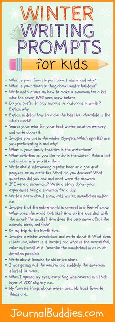 See these fabulous Winter Writing Ideas for Kids! Use these ideas to encourage children to explore the wonder of winter through writing. 19 Wonderful winter writing ideas for kids! (Jill's) Journal Buddies journalbuddies Journal Buddies (from the b Journal Prompts For Kids, Writing Prompts For Kids, Kids Writing, Writing Activities, Writing Ideas, Writing Rubrics, Paragraph Writing Topics, Writing Centers, Health Activities
