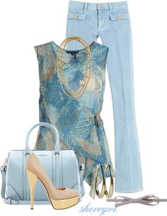"""""""Pumps And Denim"""" by sherryvl ❤ liked on Polyvore"""