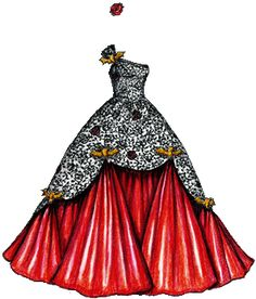 Black Lace and Red Satin Ballgown with Gold Bats Paper Dolls Clothing, Doll Clothes, Dress Sketches, Fashion Sketches, Barbie, Paper Dolls Printable, Ball Gowns, Prom Gowns, Quinceanera Dresses