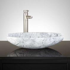 Springs Oval White Marble Vessel Sink