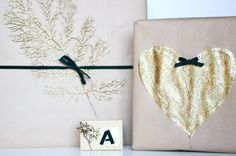 DIY craft paper and gold glitter gift wrapping