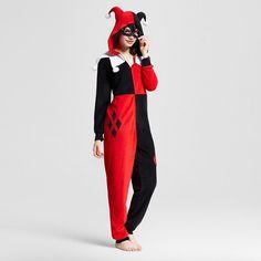 Women's Warner Bros. Harley Quinn Hooded Union Suit Pajamas - Red S/M : Target