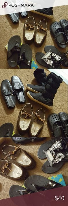SALE***BUNDLE SIZE 5--SMALL 6 PAIRS Pair of slip on boots, slippers, crocks, Cherokee dress shoes, bling summer shoes, and also basically new flip flops similar to like sketches, give you a work out when wearing! SIZE 5--MUST GO GREAT DEAL! ALL IN VERY GOOD-GREAT CONDITION! NOT MINE SELLING FOR FRIEND $40.. Shoes