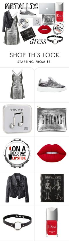 """metallic"" by april-diamond ❤ liked on Polyvore featuring Topshop, Alexander McQueen, Happy Plugs, Sarah Baily, Lime Crime, Chicnova Fashion, Retrò and Christian Dior"