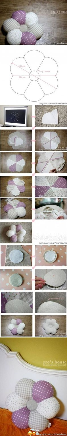 Ideas for crochet pillow flower pin cushions Sewing Hacks, Sewing Tutorials, Sewing Patterns, Fabric Crafts, Sewing Crafts, Sewing Projects, Diy Projects, Sewing Art, Project Ideas