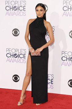 Shay Mitchell Cool High Neck Black Prom Dress 2016 People's Choice Awards