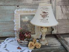 Купить Светильник на тумбочку или столик Воробьи и прованс - светильник, светильник ручной работы