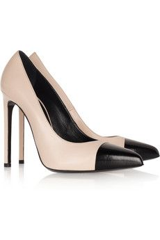 Saint Laurent Two-Tone Pointed Leather Pumps... see cute shoes like this for less at www.fabeveryday.com.