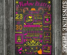 Chalkboard Birthday Poster Sign Printable / DIGITAL / baby's 1st / Baby's First Birthday / Sunshine / Yellow / Sun / Plus FREE Web File Baby First Birthday, 3rd Birthday Parties, Birthday Ideas, First Birthday Chalkboard, Yellow Sun, Toddler Toys, First Birthdays, Sunshine, Party Ideas