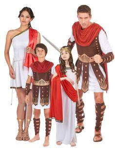 Disfraz familia Roma Antigua: Disfraz centurión romano niñoEste disfraz de centurión romano para niño incluye túnica blanca de manga corta, capa roja ligera y acorazado de gomaespuma. El traje...